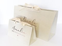 Ribbon paper bag with gold logo