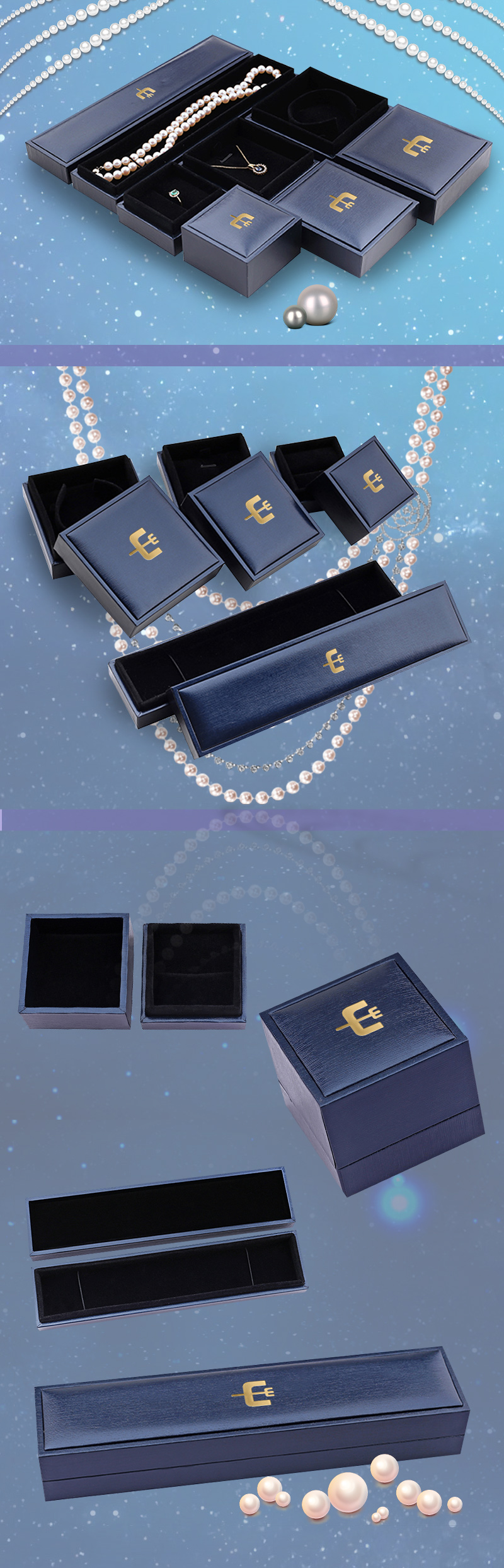 Navy blue jewelry boxes